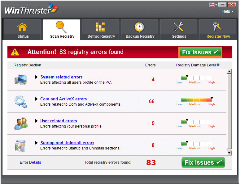 Runtime Errors - WinThruster - Scan Results - WindowsWally