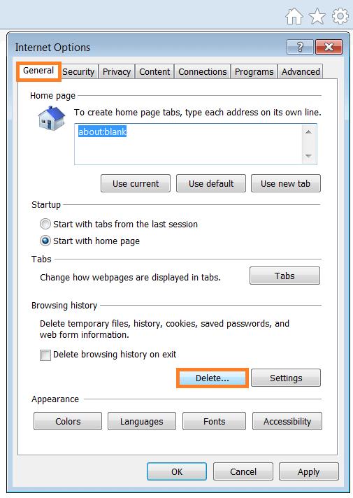 Script Errors - Internet Options - General tab - Delete Browsing History - WindowsWally