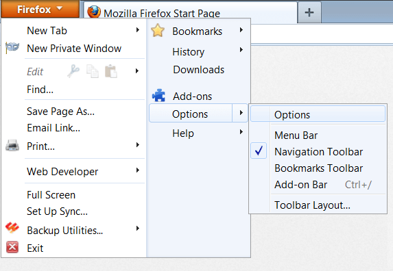 Software Updates - Firefox - Options - WindowsWally