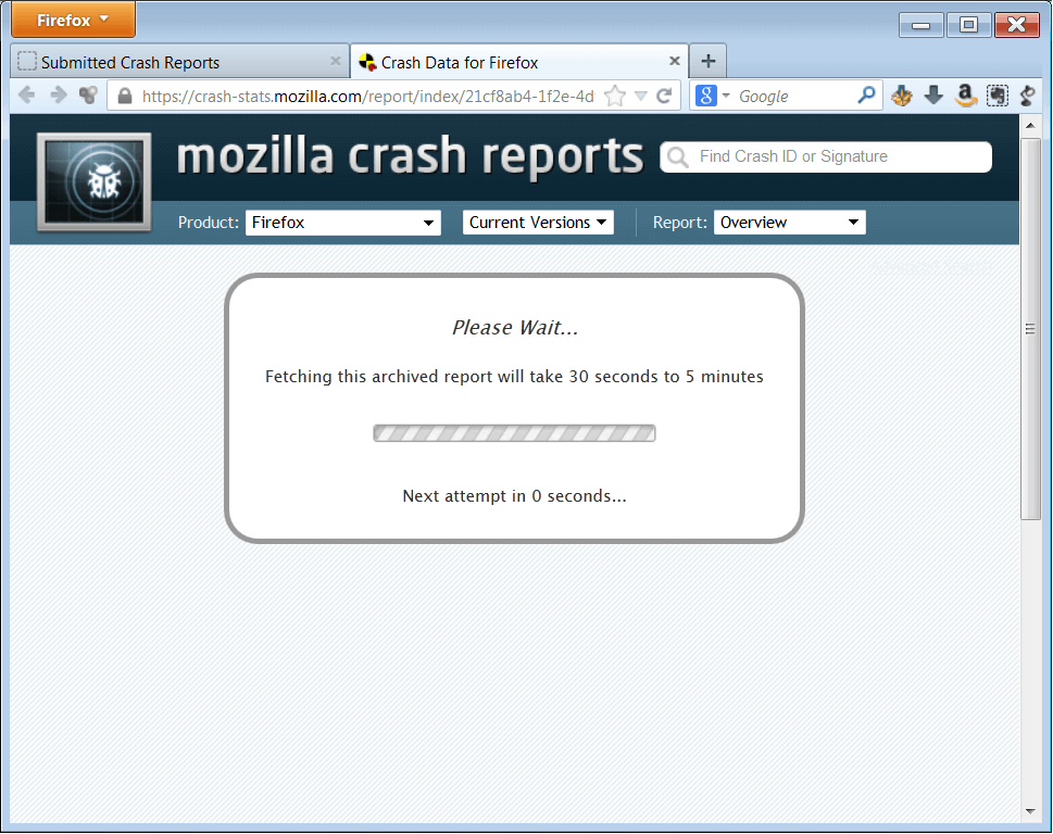 about-crashes - Crash Reports - new tab - WindowsWally