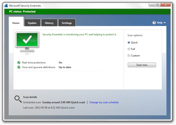 Problems updating microsoft security essentials