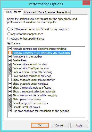 Windows 8 Faster - Performance options - uncheck-Animate Windows -- Windows Wally