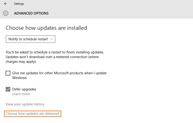 Windows 10 - Automatic Updates - Update & Security - Windows Update - Advanced options - Choose how updates are delivered -- Windows Wally