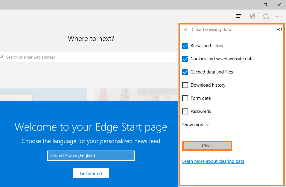 Microsoft Edge - Clear browing data - Choose what to clear -- Windows Wally