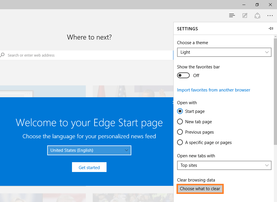 Microsoft Edge - Clear browsing data - Choose what to clear -- Windows Wally