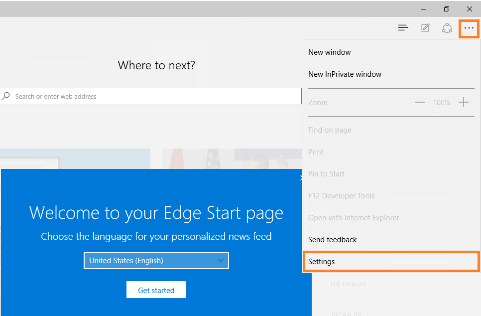 Microsoft Edge - Settings menu -- Windows Wally