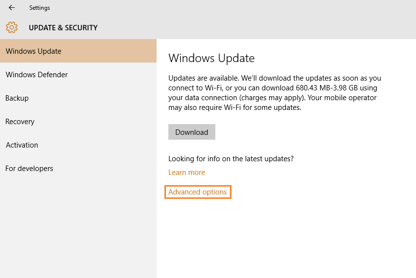 Windows 10 - Settings - Update & Security - Windows update - Advanced Options - Windows Wally