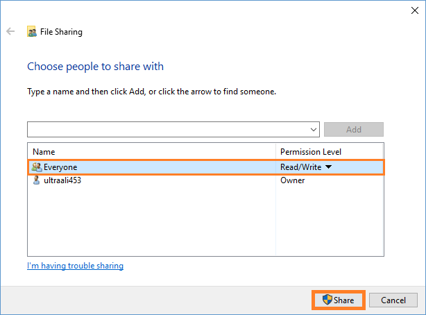 Windows 10 - Sharing files between Windows 7 and 10 - Share - Share - Windows Wally
