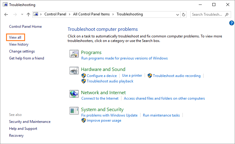 0x8E5E0407 -- Windows 10 - Control Panel - Troubleshooting - Vew all - Windows Wally