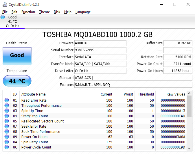 CrystalDiskInfo 6.2.2 -- Screenshot
