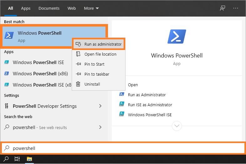 Signature Window - Start Menu - PowerShell - Run as Administrator - Windows 10 -- Windows Wally