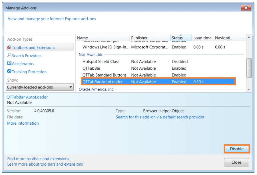 Internet Explorer stops - Internet Options - Disable Add-ons -- Windows Wally