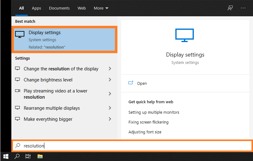 Scrollbar -- Windows 10 - Screen Resolution - Display Settings - Windows Wally